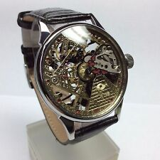 HAND ENGRAVED WATCH BRILLIANT SKELETON . MECHANIKAL. MOVEMENT USSR. 164