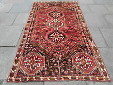 Old Traditional Persian Rug Wool Pink Red Oriental Hand Made Carpet 247x147cm