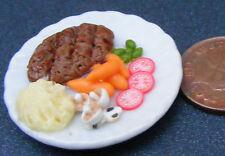 1:12 grande bistecca & purè di patate su 3,5 cm piatto in ceramica DOLLS HOUSE miniatura