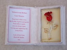 Red Rose@Floral Box & PERSONALISED MUM Verse~Glass~Gold~Mothers Day Gift Set@Mam