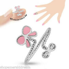 Pink Butterfly Bow Adjustable Rhodium Plated Brass Nail Ring Toe Mid-Ring Sexy