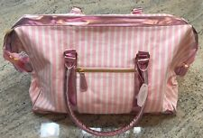 VICTORIA'S SECRET CLASSIC PINK & WHITE DUFFEL OVER NIGHT WEEKENDER TOTE BAG. NWT