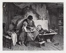 """ORIGINAL 1800s Konrad Grob Antique Engraving """"The Bird Trap"""" Framed SIGNED COA"""