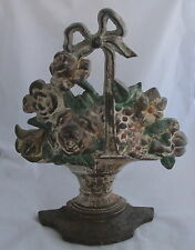 Antique Cast Iron Hubley Painted Flowers in Basket w/Bow #129 Large Doorstop