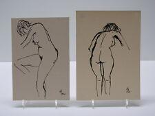 2 x Frauenakt Tusche Zeichnung dat. 1966 u.67 unbek.Monogrammist Akt Erotik Nude