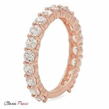 1.20 ct pave set Wedding Engagement Band Ring Solid Real 14kt Rose Gold USA