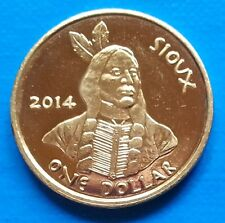 Oglala Sioux Indian Tribe 1 dollar 2014 UNC Chief USA unusual coinage