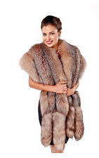 Womens Crystal Fox Fur Wrap Cape Real Fur Double Fox Trim