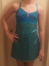 New A Wish Come True Turquoise Took the Night Dance Costume LC Large Child