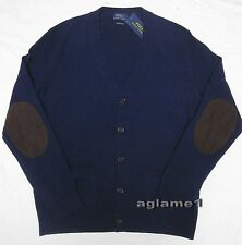 NWT POLO RALPH LAUREN  merino wool suede patch CARDIGAN SWEATER M Italian Yarn