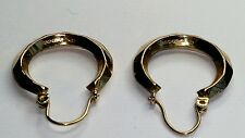 UK HALLMARKED 9CT YELLOW GOLD, VINTAGE FACETED CREOLE HOOP  EARRINGS