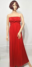 ASOS Slinky Twist Front Bandeau Maxi Party Evening Cocktail Dress in RED UK4