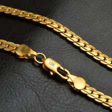 Mens 18k Yellow Gold Plated Flat Cuban Link Chain Heavy Curb Necklace 4mm Width