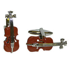 Brown & Silver Deluxe Violin Cufflinks With Gift Pouch Viola String Music New