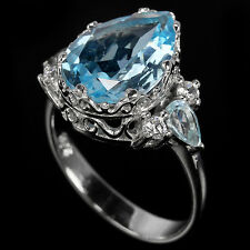 Sterling Silver 925 Elegant Genuine Blue Topaz Ring Size S (US 9.25)