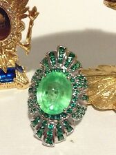 ONE OF A KIND 20 CT NATURAL MINED COLOMBIAN EMERALD RING ZAMBIAN EMERALDS ACCENT