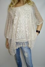 16 18 20 22 Italian Boutique Lagenlook Tunic 2P Top Embroidery Lace Quirky Cream