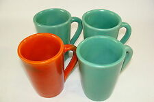 """4 Old Catalina Island Pottery 4"""" Coffee Mugs Cups Toyon Red Green 2 Xlnt 2"""