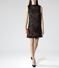 Reiss Alisa Sheer Shift Dress in Black UK 6 S