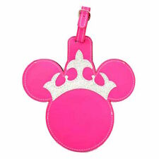 disney parks minnie mouse pink princess crown luggage bag tag new with tag