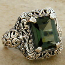 4.5 CT. TOURMALINE .925 STERLING SILVER ANTIQUE DESIGN RING SIZE 10,   #532