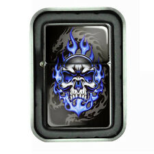 Windproof Refillable Oil Lighter with Tin Box Skull Design-015