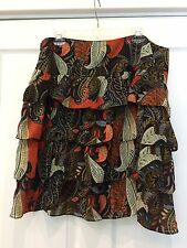 New Direction Skirt Size 16 Tiered Ruffled Orange Brown Paisley Feathers