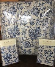 NEW HTF RALPH LAUREN HOME BLUFF POINT STENCIL 3PC FULL/QUEEN COMFORTER SET