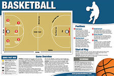 BASKETBALL INSTRUCTIONAL WALL CHART Poster - Rules, Positions, Court, Scoring,