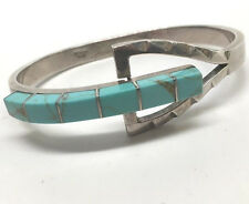 Modernist Mexican Turquoise Sterling Silver Bangle Buckle Style Bracelet; 7""