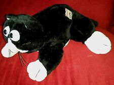 Vintage JLR Toys ALLEY KAT 18in Soft Plush Black & White Kitty Cat 1986 Patch