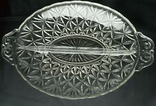 """10.75"""" Clear Pressed Glass Divided Relish Dish, Star Pattern, Scalloped Edges"""