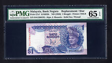 Malaysia 1 Ringgit ND 1986 Replacement Note  P. 27a PMG 65 EPQ GEM UNC