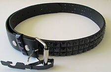 Men's Fashion Studded Belt (New L) Black With Blue Lines - Genuine Real Leather
