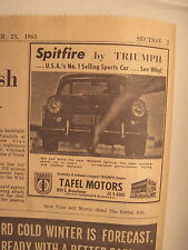Louisville Courier Journal 11-23-1963. *Rare Triumph Spitfire Ad! American 220!