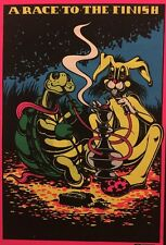 Race To The Finish Blacklight Vintage Poster Tortoise & Hare Smoking Hookah 70's