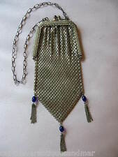 Antique Gold T Cobalt Blue Jewel Clasp & Fringe Chain Mail Mesh Flapper Purse