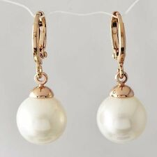 Fashion Womens White Pearl Gold Filled Vintage Ear Dangle Earrings Jewelry