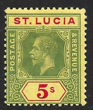 St Lucia 1912-21 5/- Green & Red/Yellow SG 88 (Mint)