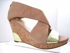 COLE HAAN Nike Air Beige Gold Metallic Leather Back Zip Cork Wedges Size 7 B