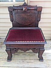 Antique Pilgrim Chair w/ Lift Top and Red Velveteen Seat