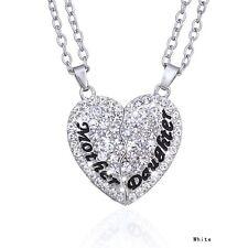 Deux Partie Collier Mère & Fille Heure actuelle Crystal Diamant Coeur Pendentif