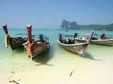 LONGTAIL BOATS THAILAND BEACH SEA PHOTO ART PRINT POSTER PICTURE BMP2321A