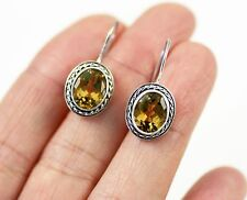 Unusual Solid 925 Sterling Silver, Citrine Dangle / Drop Earrings, + box, 1008