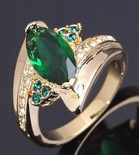 Fashion Size 6 Halo Emerald 18K Gold Filled Bridal Rings For Womens Wedding Gift
