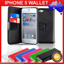 Premium Apple iPhone 5 Wallet Leather Case 16gb 32gb 64gb Free Screen Protector