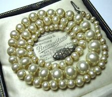 Fine Antique Rhinestone Sterling SILVER CLASP Simulated Seed Pearl Bead NECKLACE