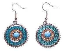 Layla Vibrant Blue Enamel/ Diamanté & Blue Stone Centre round Earrings(Ns17)