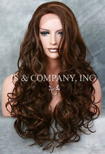 Brown Auburn Strawberry Mix HEAT SAFE Lace Front wig Curly Long JSHY 4-27-30
