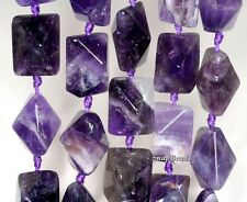 16X12MM AMETHYST GEMSTONE PURPLE FACETED BICONE RECTANGLE LOOSE BEADS 7.5""
